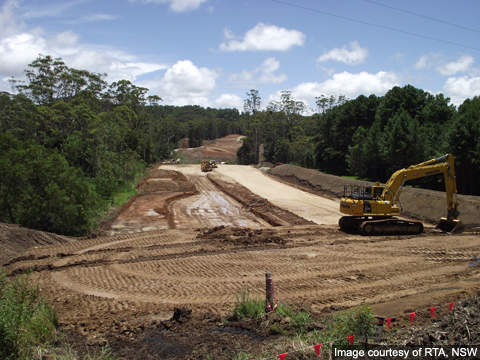 Sapphire to Woolgoolga upgrade - Earthworks looking north from Woolgoolga Creek Road.