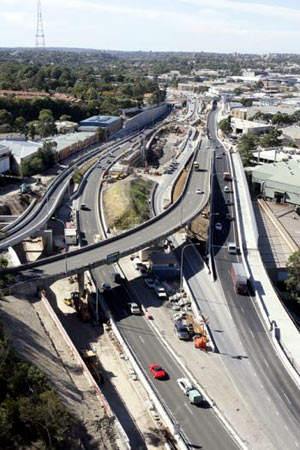 The Gore Hill Freeway has an additional new lane in each direction to act as transit lanes.