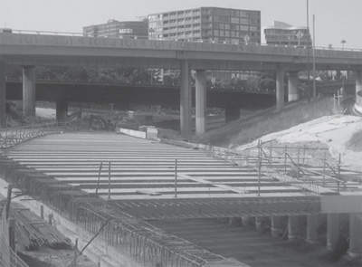 The deck of one of the northern sections, showing the cross beam structure.