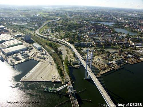 The cable-stayed bridge has navigation spans of 198m and 125m.