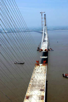 The Sutong bridge is claimed to be the world's longest cable-stayed bridge to date.