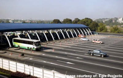 There are four new toll plazas each equipped with ETC.