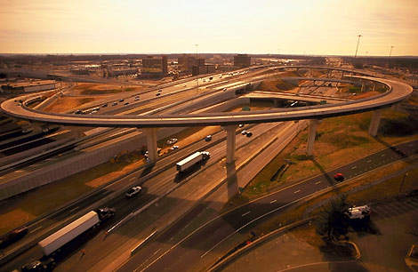 The Springfield Interchange (or 'Mixing Bowl') Improvement is an eight-year, seven-phase construction project that began in March 1999 and is on schedule for completion in 2007.
