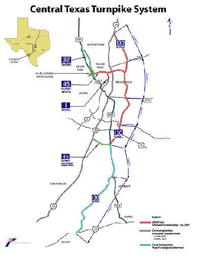 Map showing the overview plan of the Central Texas Turnpike System.