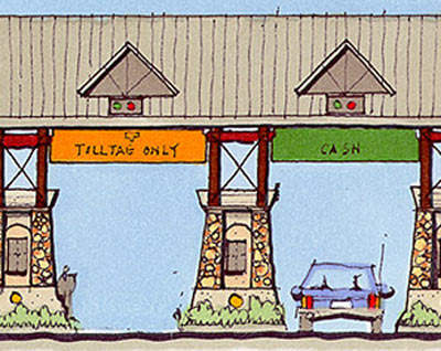 Design sketch showing the 'theme' for the toll collection points.