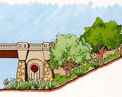 Design sketch showing the 'theme' for the bridge facings and natural indigenous Texan flora.