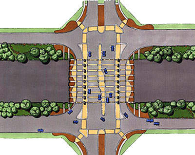 Design sketch showing the planting scheme around toll intersections.