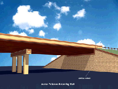 Each rectangular column at the interchanges, along with retaining walls, has an ashlar finish.