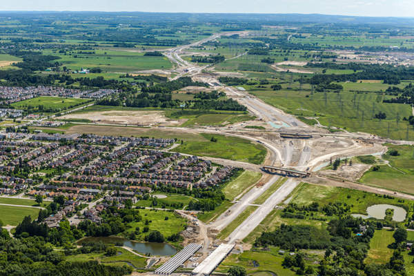 Phase one of the project also includes construction of interchanges at Brock Road, Lake Ridge Road, Baldwin Street, Thickson Road, Simcoe Street and Harmony Road. Image: courtesy of 407EDG.