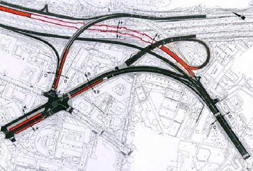 Nudo de la Paloma road layout plan.