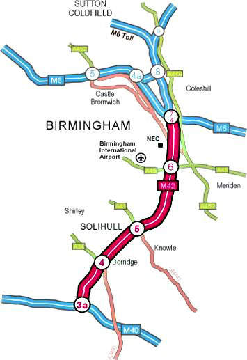 The ATM system is a pilot scheme over the 17km stretch between junctions 3a and 7 of the M42.