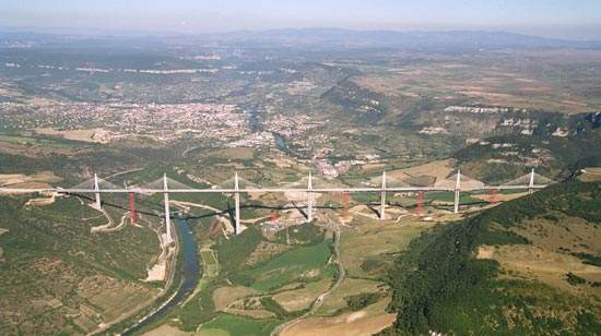 At 2.4km long, and 270m above the river at its highest point, the Millau viaduct spans a 2km valley in the Massif Central mountain range.