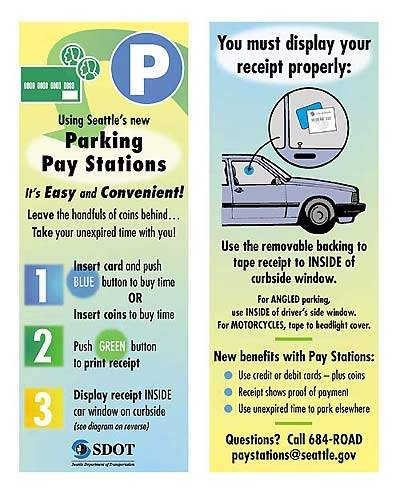 Pay station instruction sign.