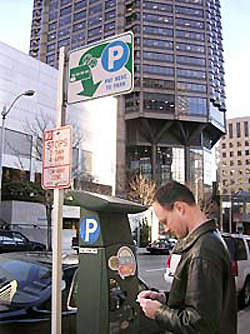 The parking pay stations offer aesthetic and space advantages over conventional single-space parking meters.