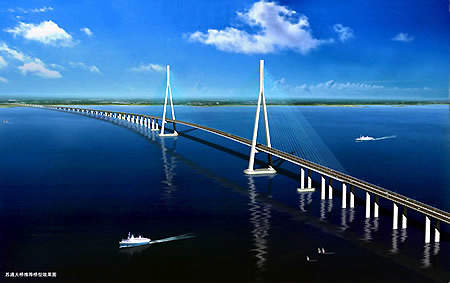 The Sutong Bridge lies between Nantong City and Changshu in the east of Jiangsu province and will become part of the national key trunk route.