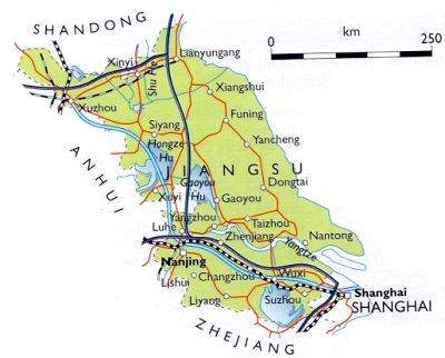 Map of Jiangsu province - the Sutong Bridge will be located near Nantong, to the east of the existing bridge.