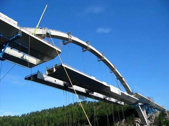 Middle section of Svinesund Bridge being lifted to its final position.