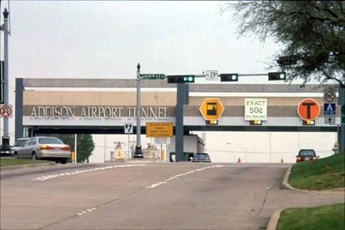 Addison Airport tunnel has six-lane toll plaza.