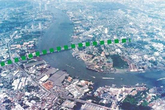 Aeriel view of the Krungthep Bridge project.