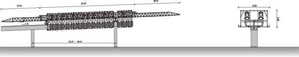 An aeriel view of the Krungthrep Bridge construction.