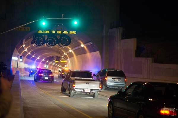 The Caldecott Tunnel Fourth Bore was opened to westbound traffic in November 2013. Image courtesy of Karl Nielsen, MTC.