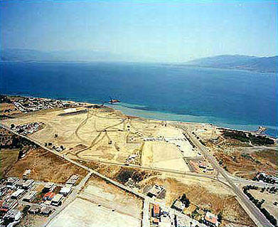 The first earthworks towards construction of the Rion-Antirion Bridge.