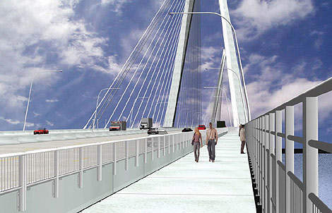 Cooper River Bridge will connect two major municipal areas and offers eight lanes for traffic plus a pedestrian/bike lane.