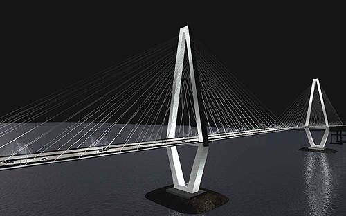 Light planes, located at the apex, reinforce the tower's diamond shape. These lights highlight the bridge's axis as well accentuating the cables at night.