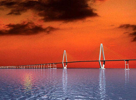 The creation of a landmark architectural design in the area is the driving idea behind the Cooper River Bridge project. The single tower scheme is intended to reflect the nearby elegance of the city of Charleston.