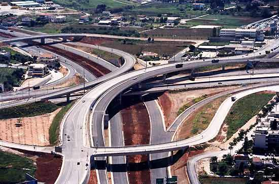 The motorway includes hundreds of overpasses and underpasses along the length of it.