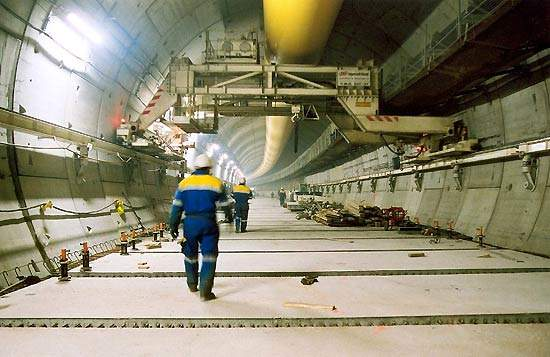 The tunnels are being constructed using an all terrain, made to measure tunnel boring machine.