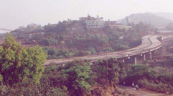View of the Khandala section of the new Mumbai-Pune Expressway during construction.