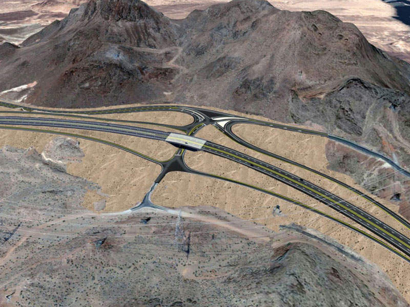A 3,500ft section of southbound US Highway 93 between Wagon Wheel Drive and Railroad Pass Casino in Henderson will be shifted in order to connect it to the first segment of Interstate 11. Image courtesy of the Nevada Department of Transportation (NDOT).
