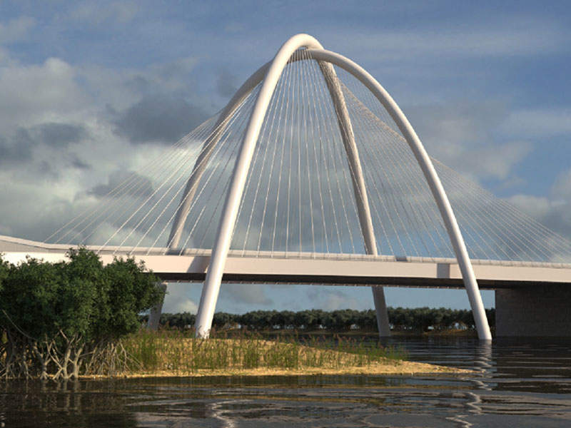 The Umm Lafina project includes the construction of five bridges. Image courtesy of EB Architects.