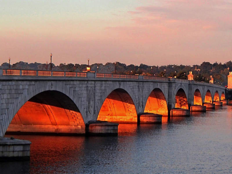 The 85-year old Arlington Memorial Bridge over the Potomac River in Washington DC, US, is being rehabilitated.
