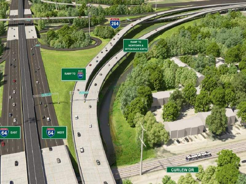 The I-64/I-264 Interchange improvement is being implemented from the Twin Bridges in Norfolk to the Witchduck Road interchange. Image courtesy of VDOT.