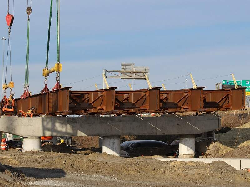 Steel girders being placed near Newtown Road Ramp 15A. Image courtesy of VDOT.