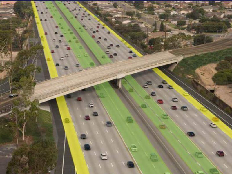 The I-405 improvement project is being implemented between the SR-73 in Costa Mesa and the I-605 near the Los Angeles County line. Image courtesy of Southern California Partnership for Jobs.