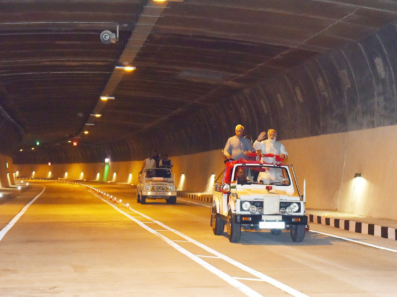 The Patnitop tunnel was opened for traffic in April 2017. Credit: PMO India.