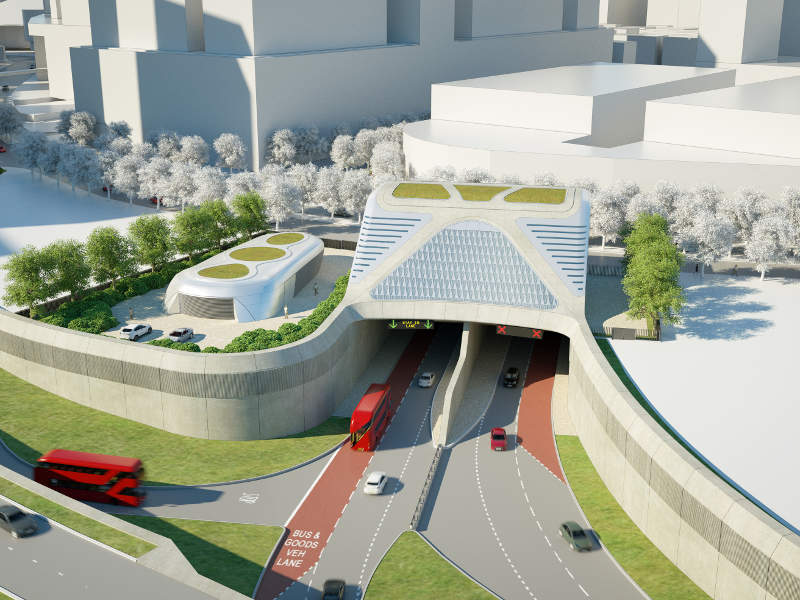 The Silvertown tunnel is a new twin-bore road tunnel to be built under Thames River. Image courtesy of TfL.