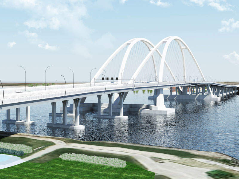 Rendering of the new I-74 Mississippi River Bridge. Image courtesy of Iowa Department of Transportation.