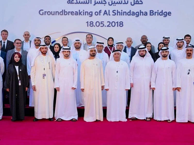 Ground-breaking for the Shindagha Bridge project was held in May 2018. Image courtesy of Six Construct.