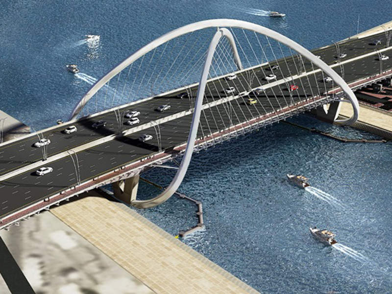 Six Construct is the infrastructure contractor for the 295m-long Shindagha Bridge project. Image courtesy of Six Construct.