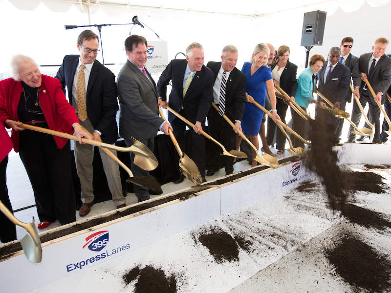 The ground-breaking ceremony of the 395 Express Lanes project was held in August 2017. Image courtesy of Transurban (USA) Operations Inc.