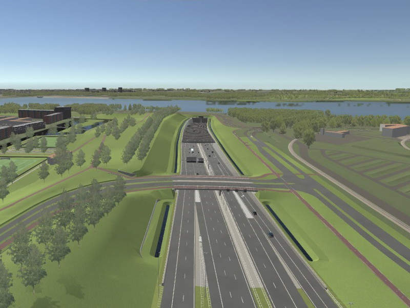 Blankenburg Connection is a 4km-long new motorway connecting A15 and A20 motorways. Image courtesy of Blankenburgverbinding.