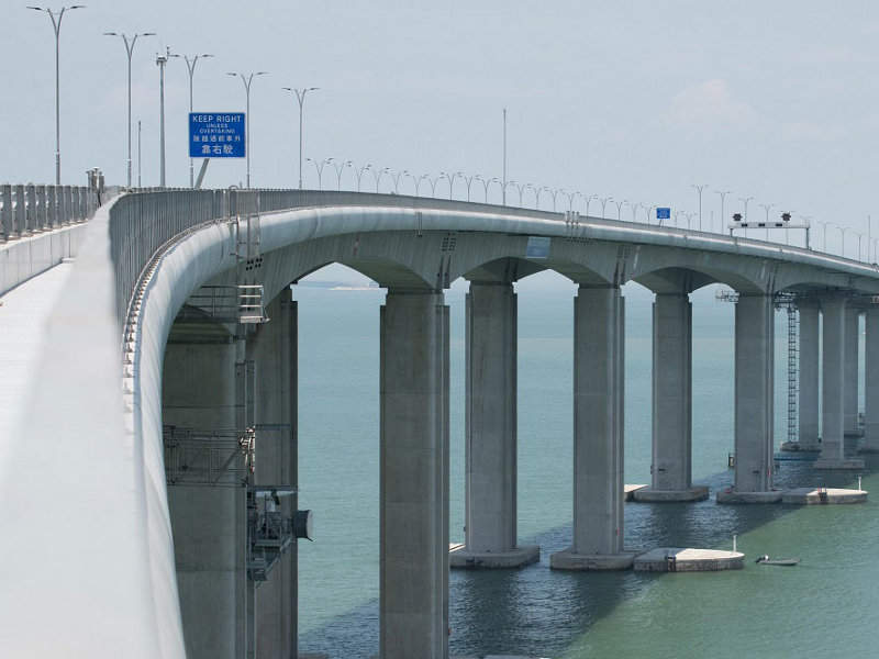 "The HKZMB's main bridge has a length of 29.6km. Image courtesy of The Transport and Housing Bureau (""The THB"")."