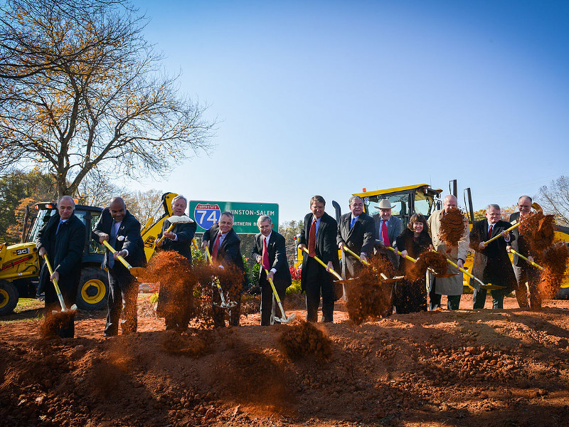 The ground-breaking ceremony of the Winston-Salem Northern Beltway was held in November 2014. Image courtesy of North Carolina Department of Transportation.