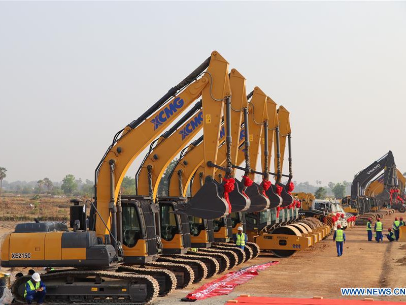 Ground-breaking ceremony of the Phnom Penh-Sihanoukville expressway project was held in March 2019. Image courtesy of Xinhua.