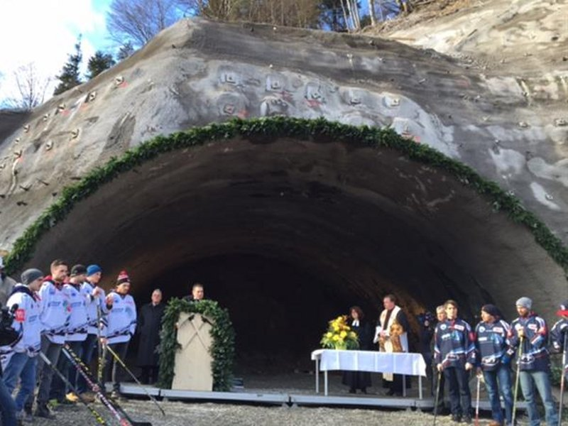 The ground-breaking ceremony of the tunnel project was held in January 2016. Image courtesy of Marti Gruppe.
