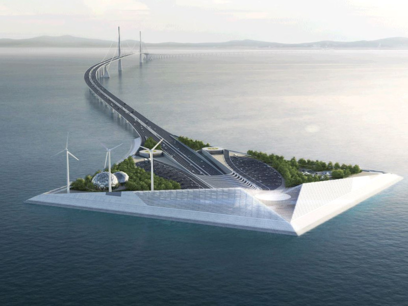 Shenzhong link will be a 24km-long sea-crossing link connecting Shenzhen and Zhongshan cities. Image courtesy of DISSING+WEITLING architecture.